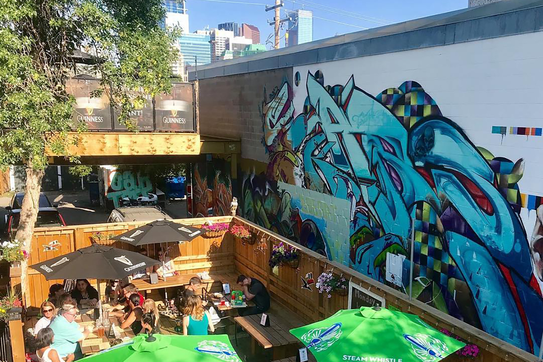 outdoor rooftop patio sunny day calgary