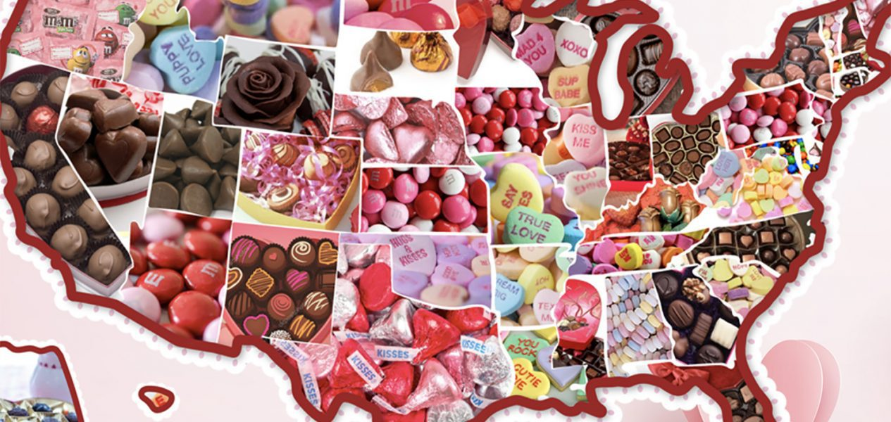 This map shows you each states favorite Valentine's Day candy