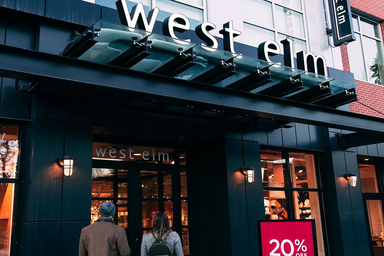 west elm shopping retail exterior