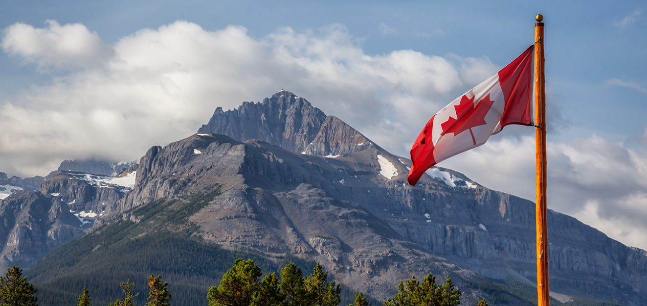 good news canada flag Rocky mountains