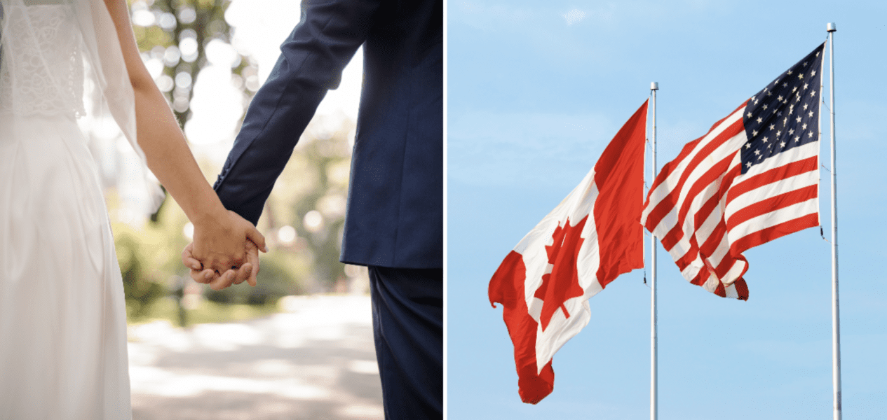 couple gets married at canada us border